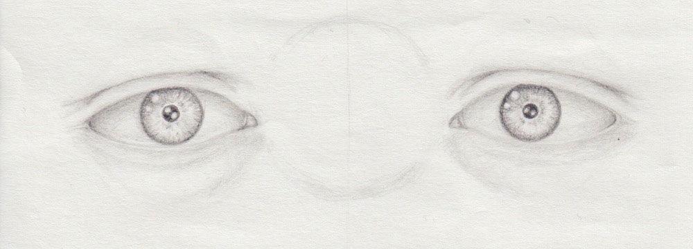 zwei helle Augen zeichnen