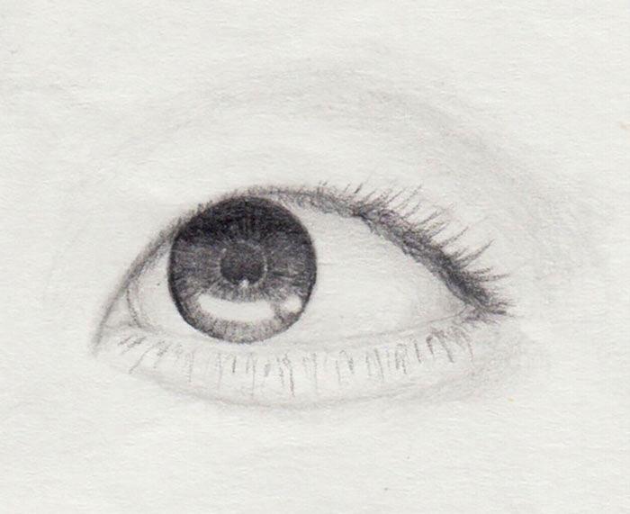 gerade und kurze Wimpern zeichnen