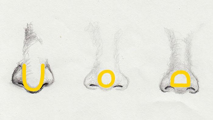 verschiedene Nasenformen zeichnen