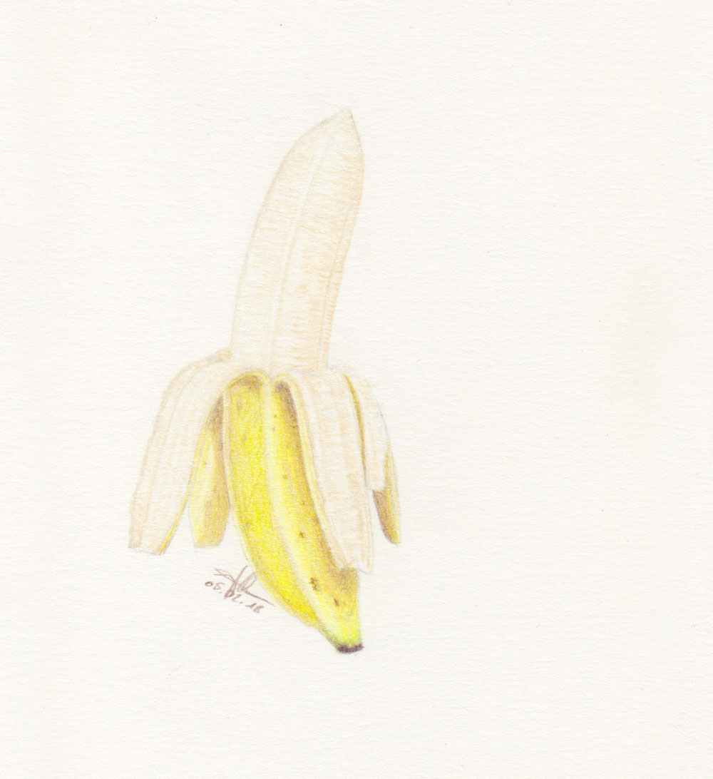 Schale einer Banane zeichnen mit Buntstift