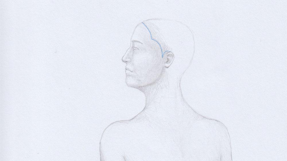 Lange Haare zeichnen: Haaransatz skizzieren