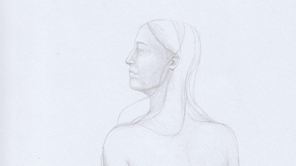 Lange Haare zeichnen: Hilfslinien