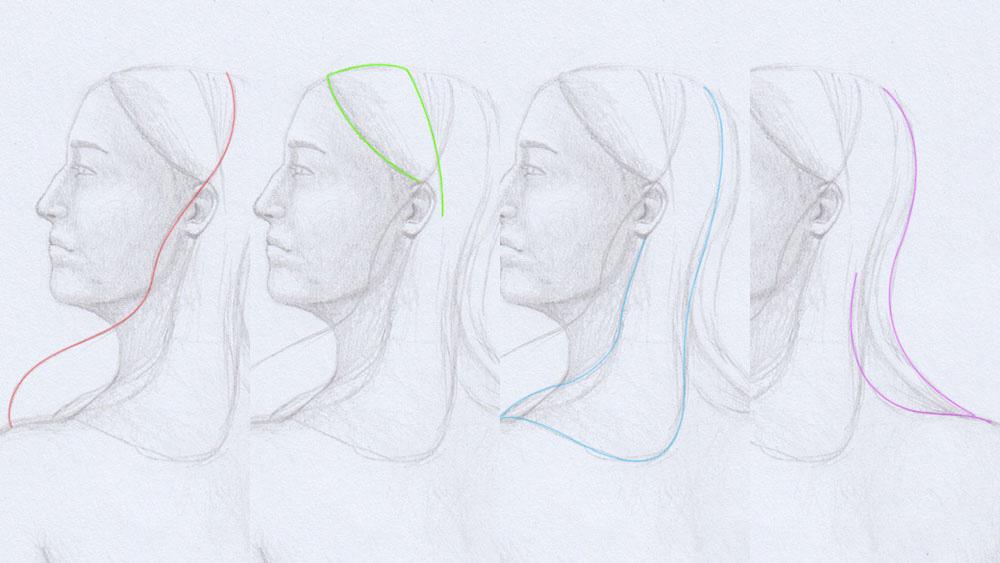 Lange Haare zeichnen: Hilfslinien Frisur