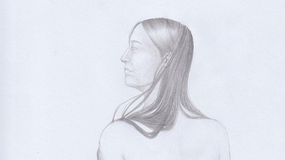Lange Haare zeichnen: Dunkle Haare