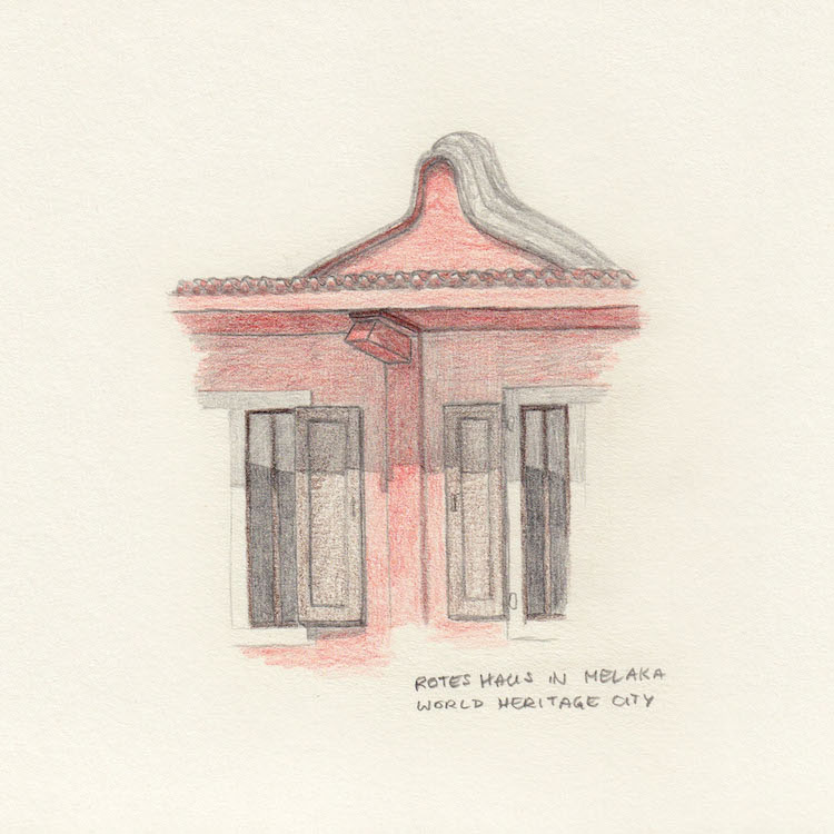 Melaka drawing red roof