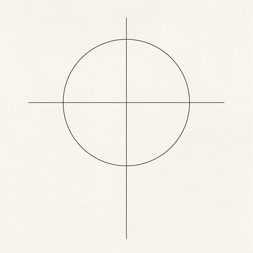Draw circle and two lines