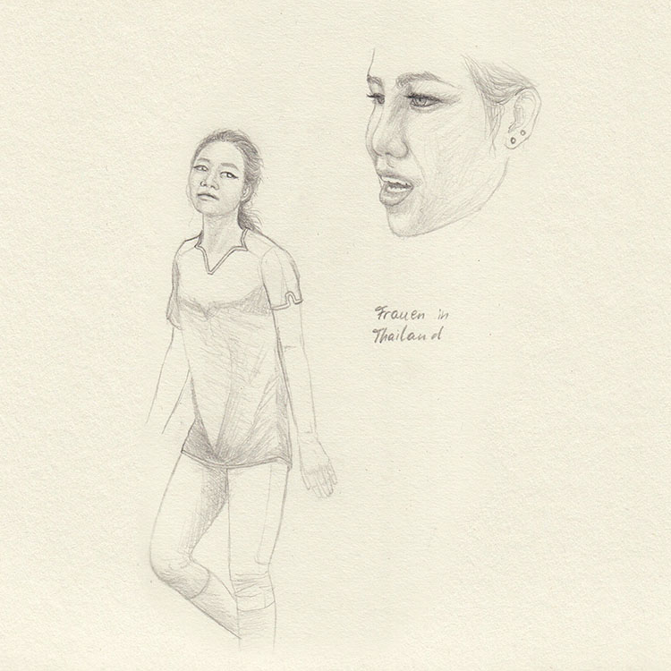 Sketch women in Bangkok