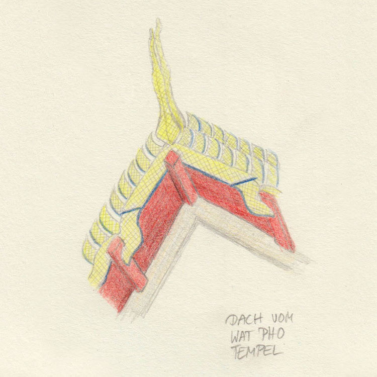 Sketch roof Wat Pho temple in Bangkok