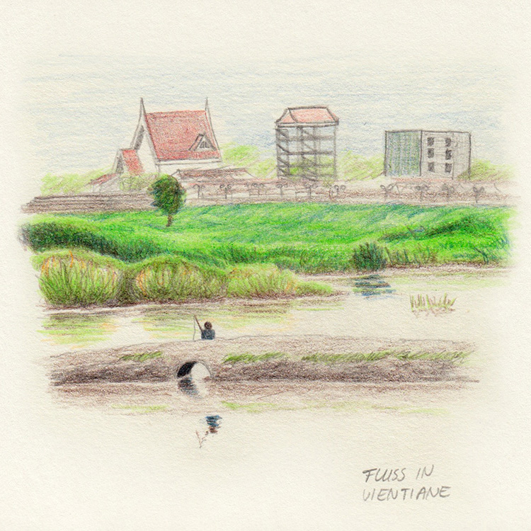 Inspiration for drawing while travelling: Landscape in Vientiane, Laos