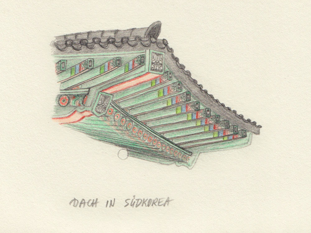 Drawing traditional roof South Korea