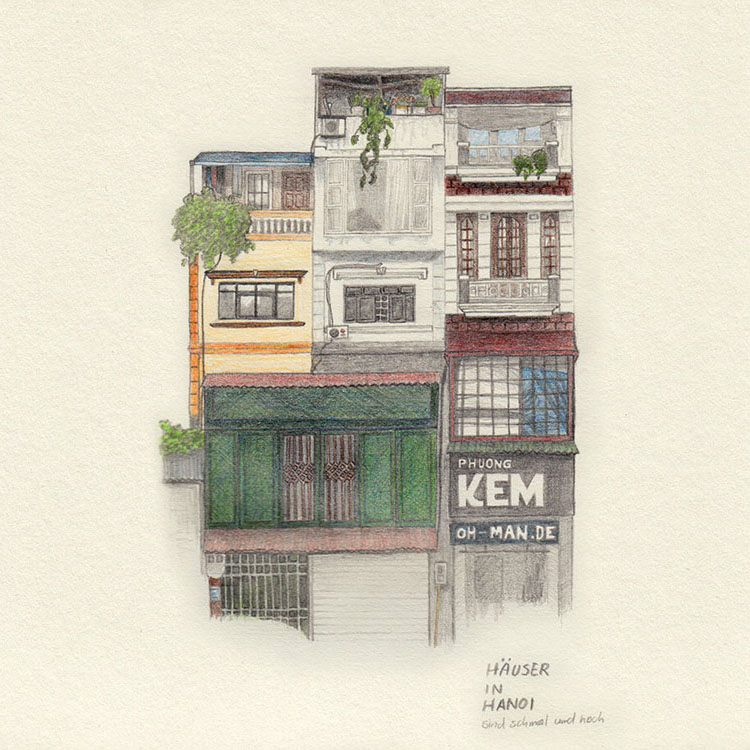 Inspiration for drawing while travelling: House in Hanoi