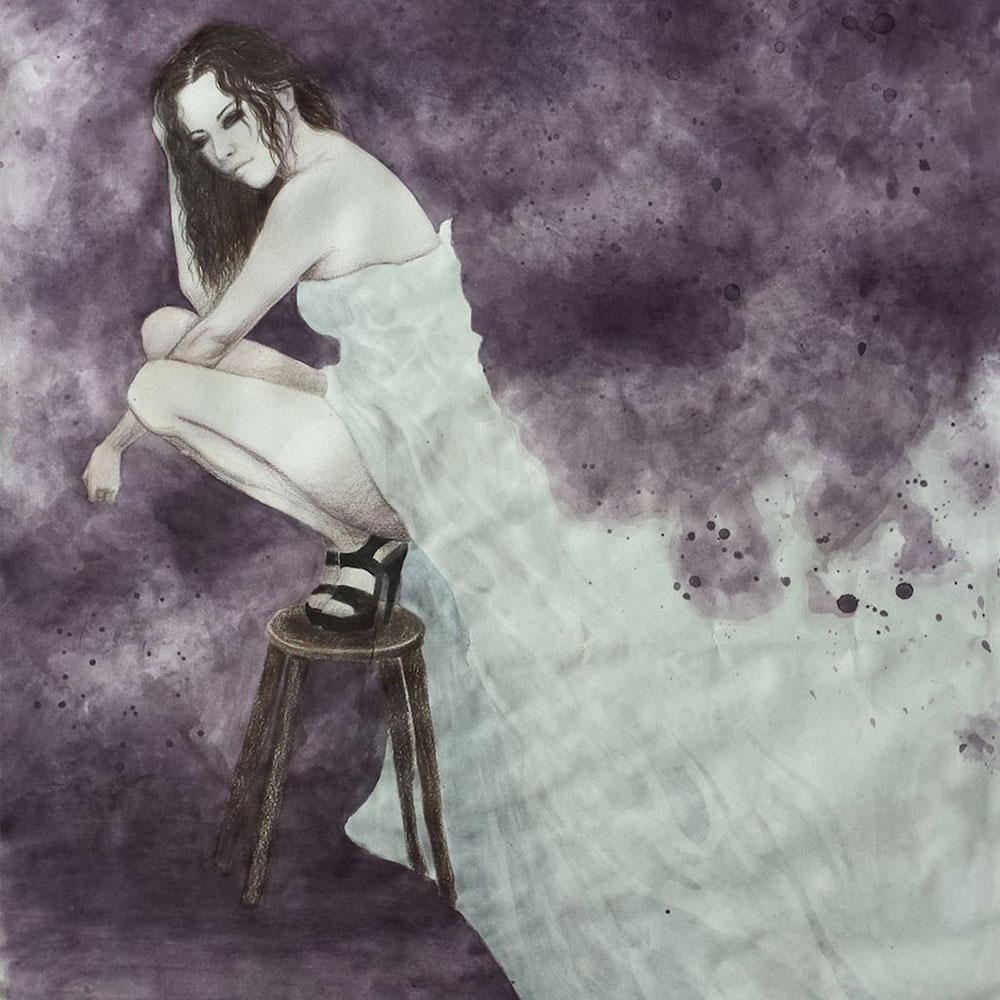 Watercolour woman on stool