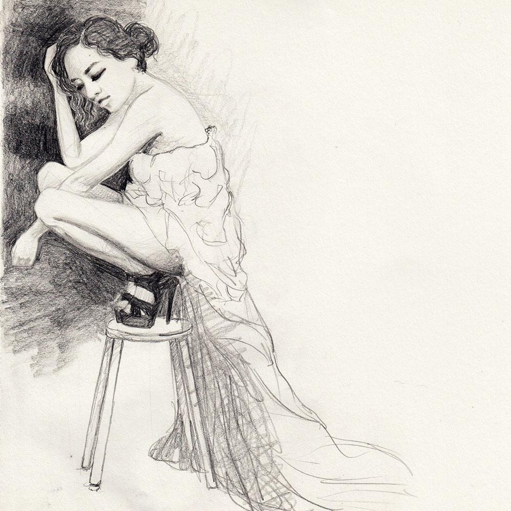 Sketch woman on stool