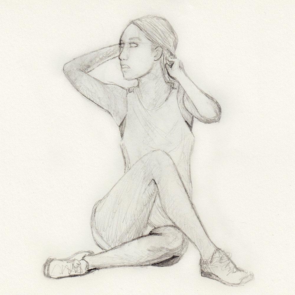 Sketch sitting woman