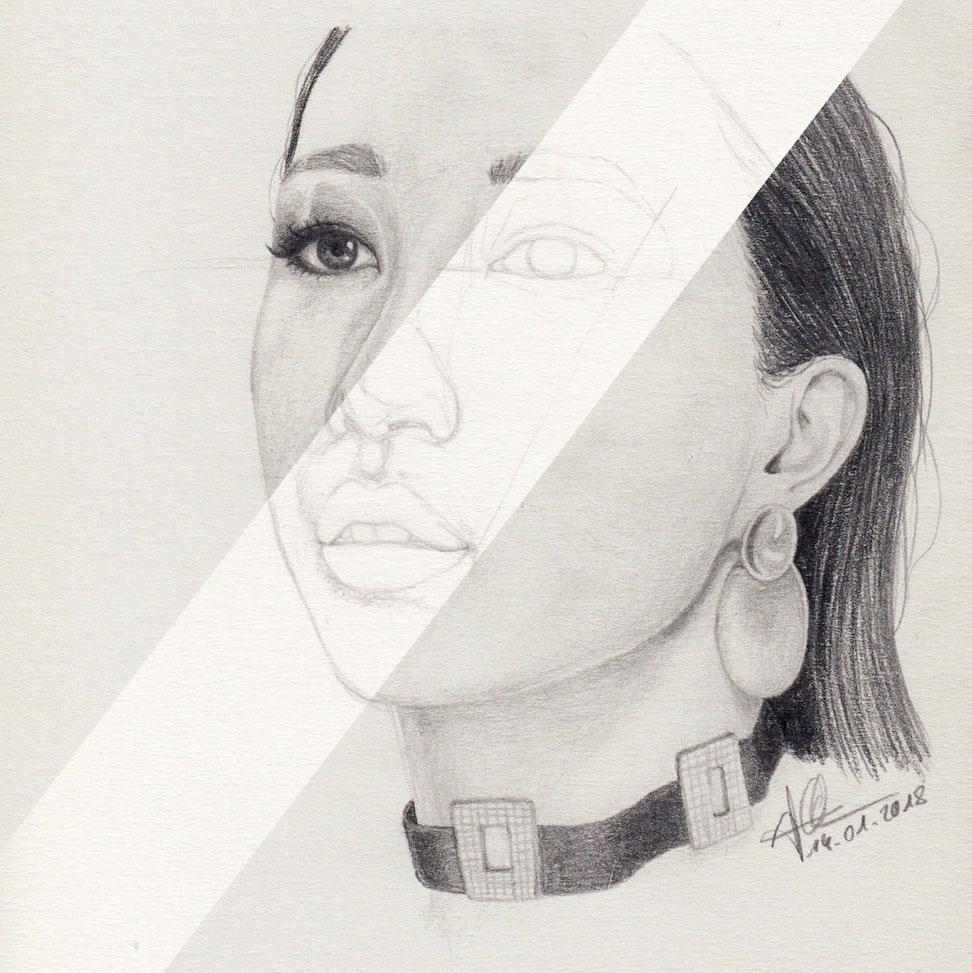 Sketch disappears below drawing
