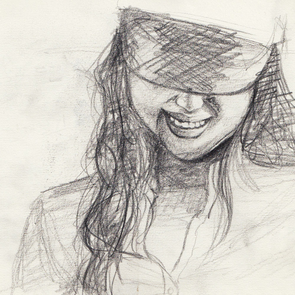 Sketch as model for painting