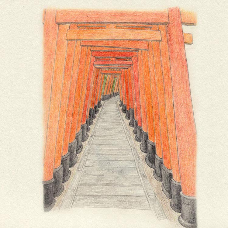 Zeichnung der Torii – Fushimi Inari-Taisha, Kyoto