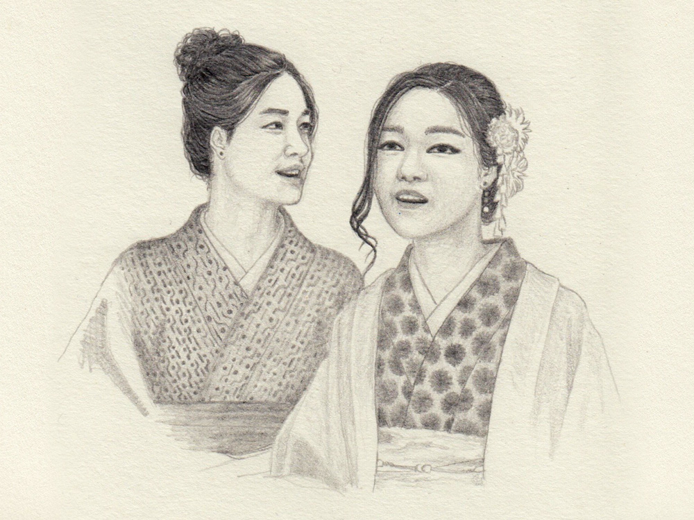 Drawing of two japanese ladies in Kyoto