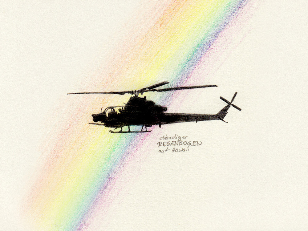 Drawing helicopter and rainbow on Hawaii