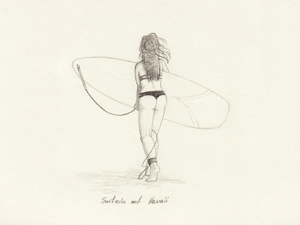 Drawing surfer on Hawaii
