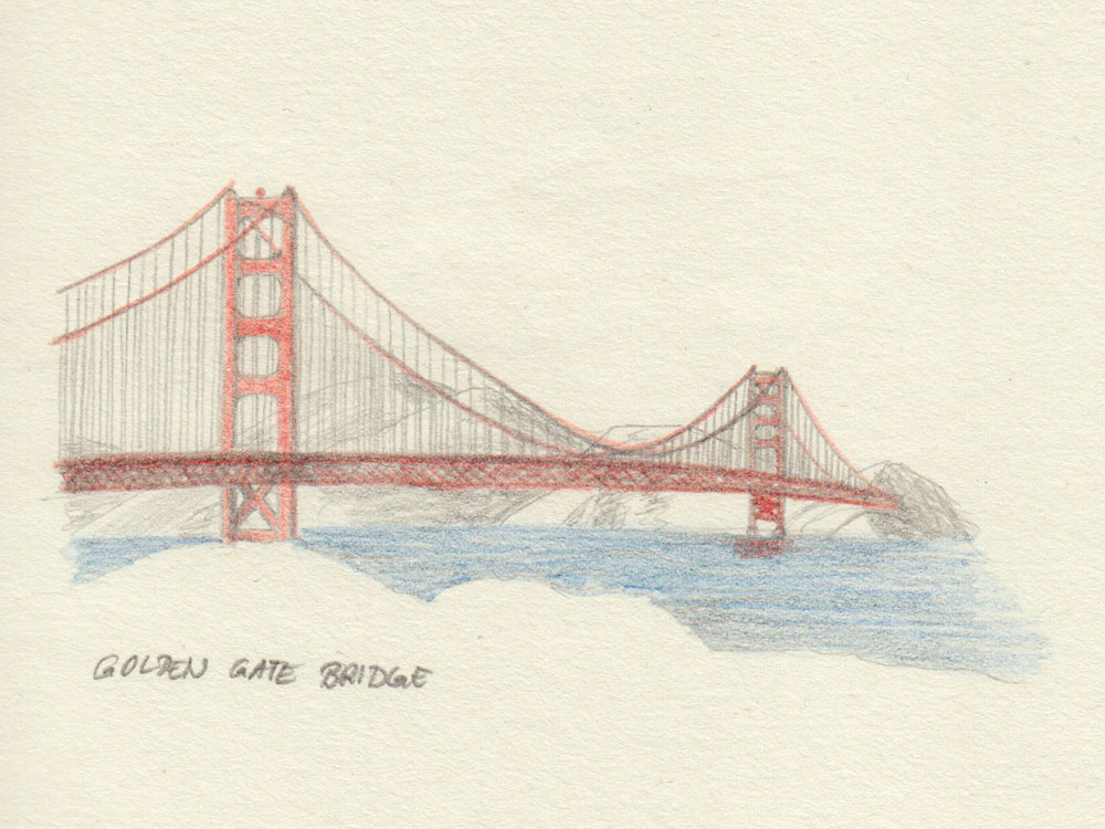 Drawing Golden Gate Bridge San Francisco