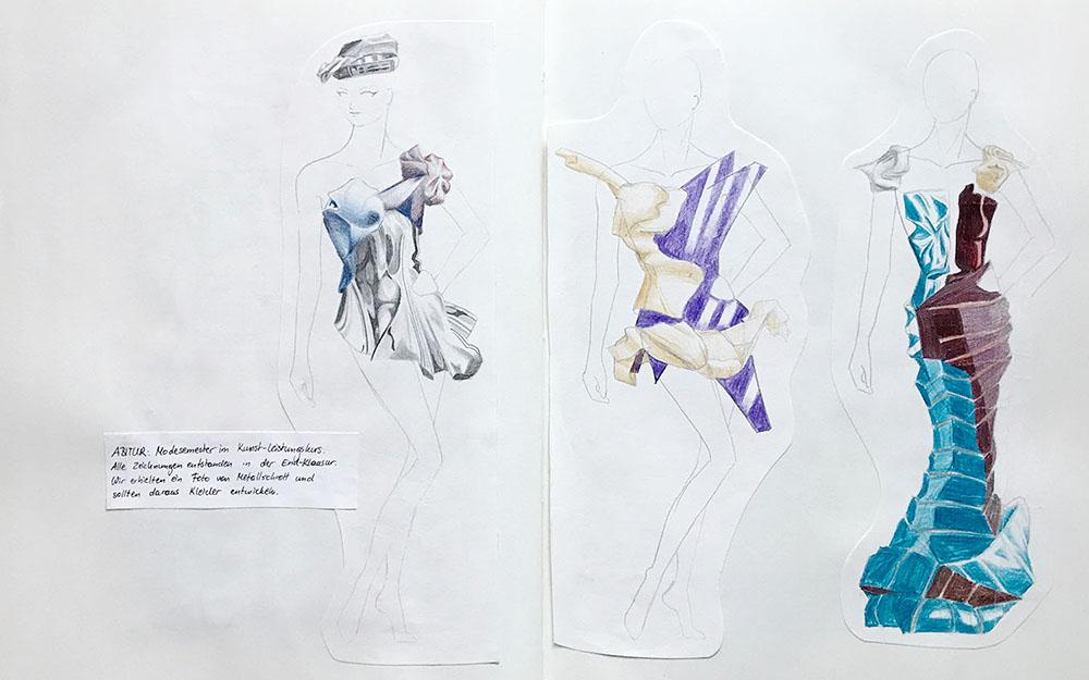 Modezeichnung im Skizzenbuch