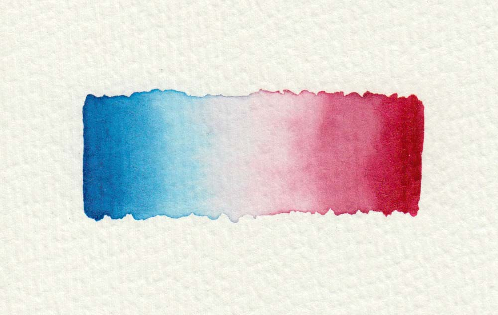 Watercolor painting technique: color gradient blue to red