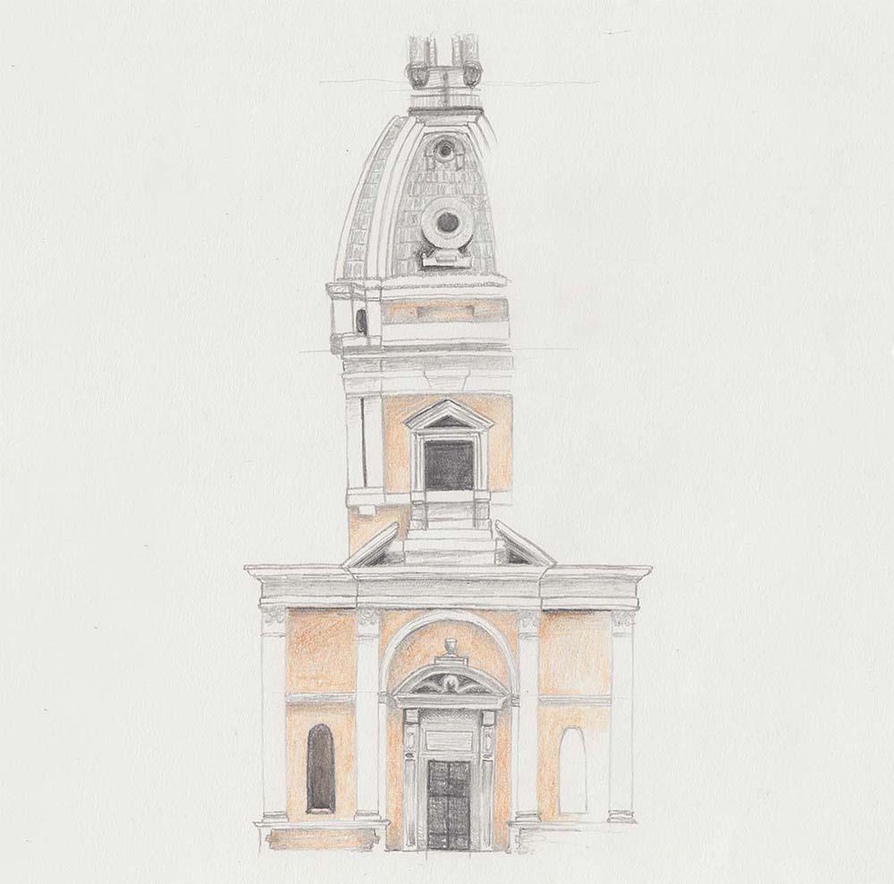 Zeichnung aus Rom, Italien: Gebäude