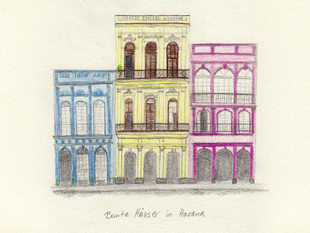 Drawing buildings in Havana