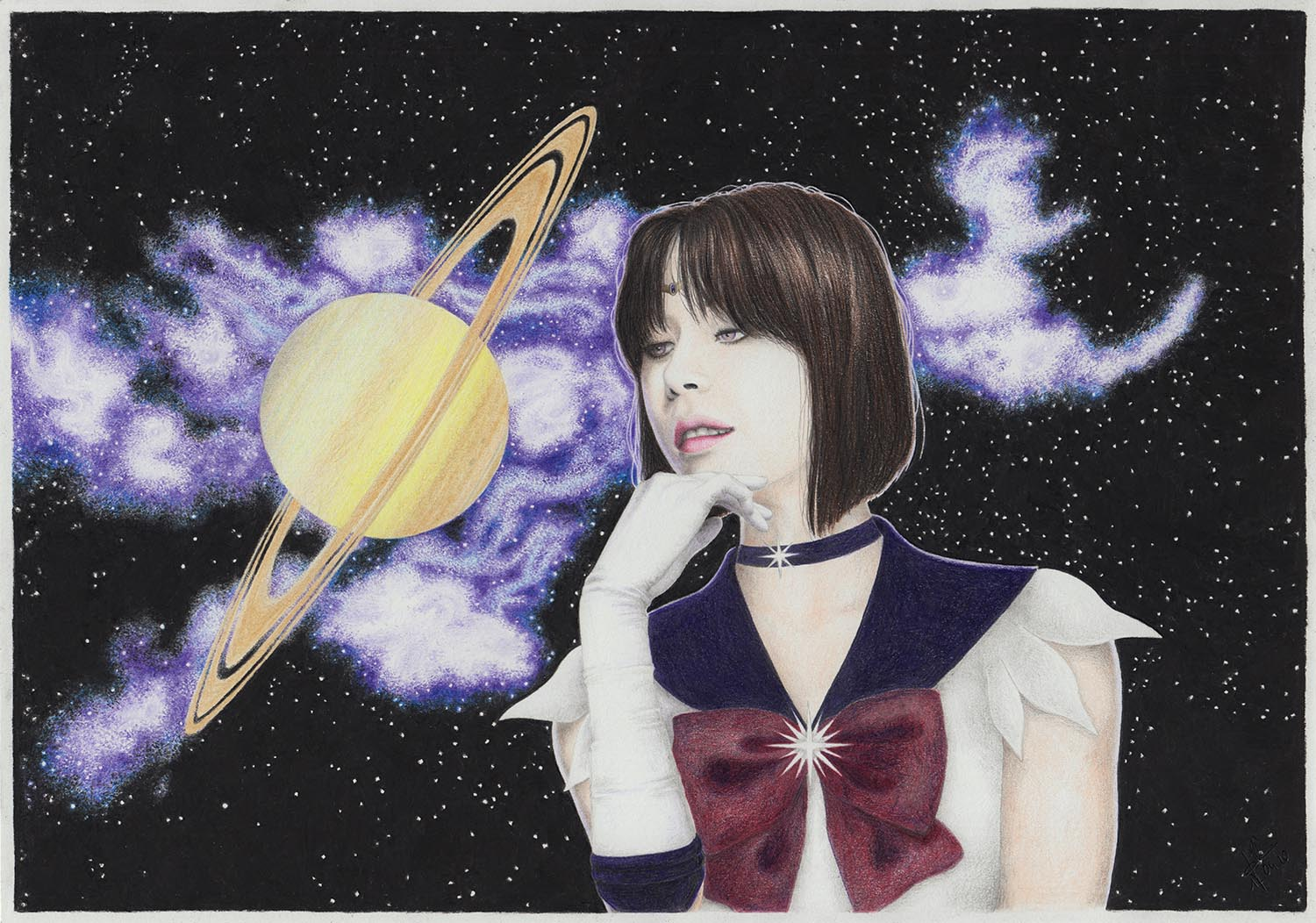 Sailor Saturn realistic drawing