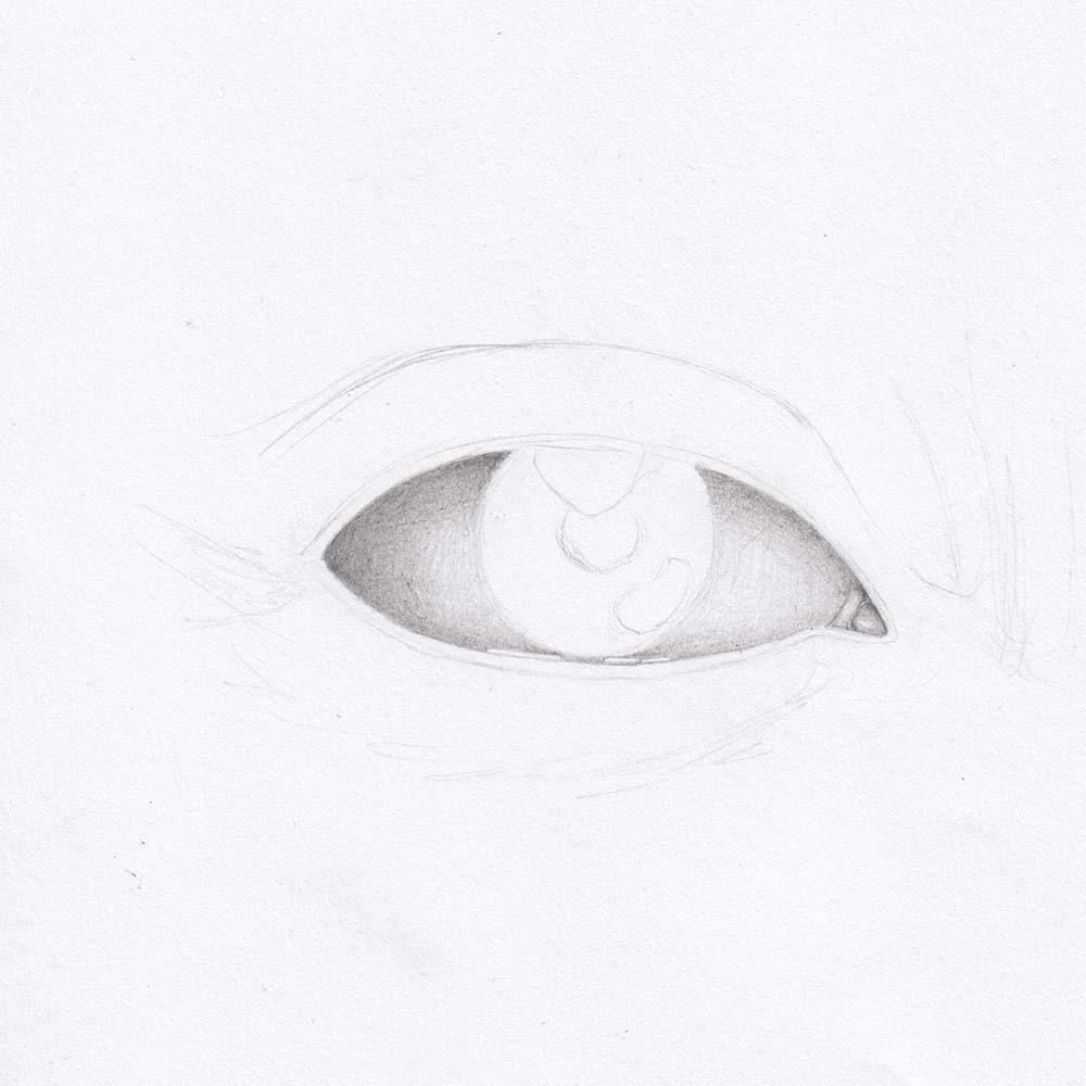 Draw the eye from the front - Shade the eyeball