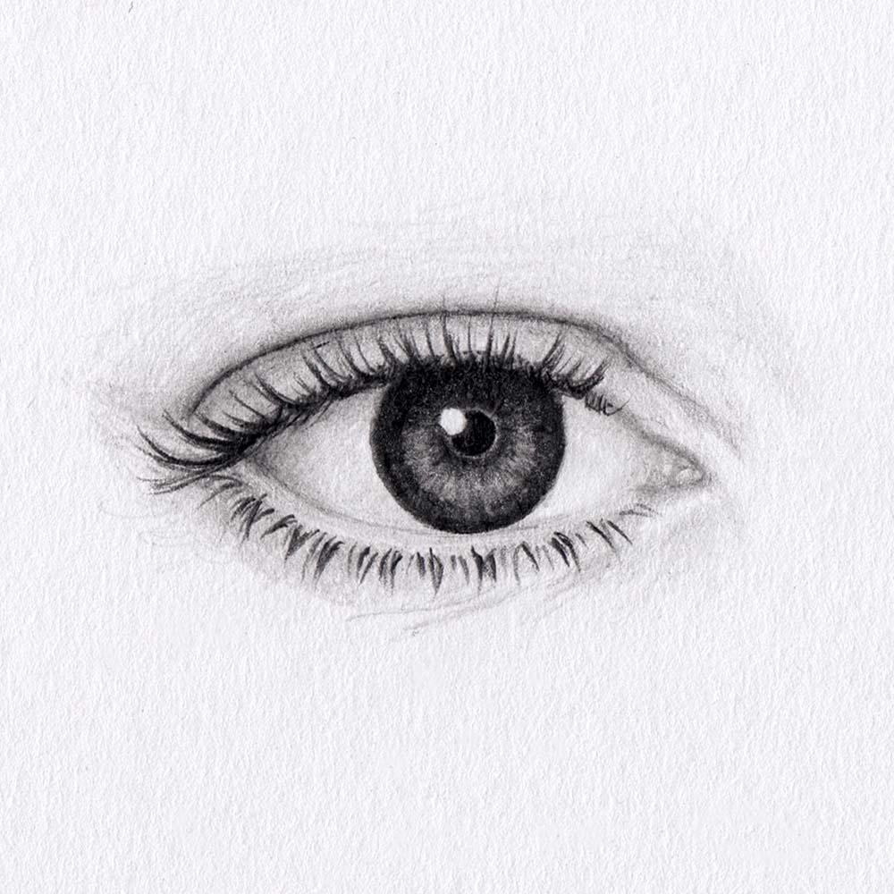 Draw almond shaped eyes
