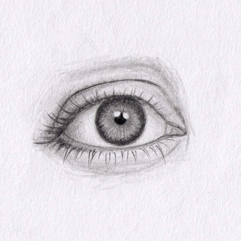 Draw downturned eyes