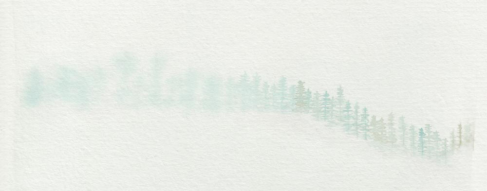 Painting trees in a misty fog