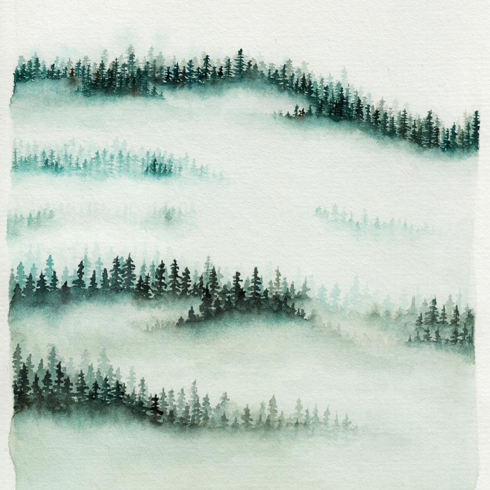 Paint foggy forest with watercolor