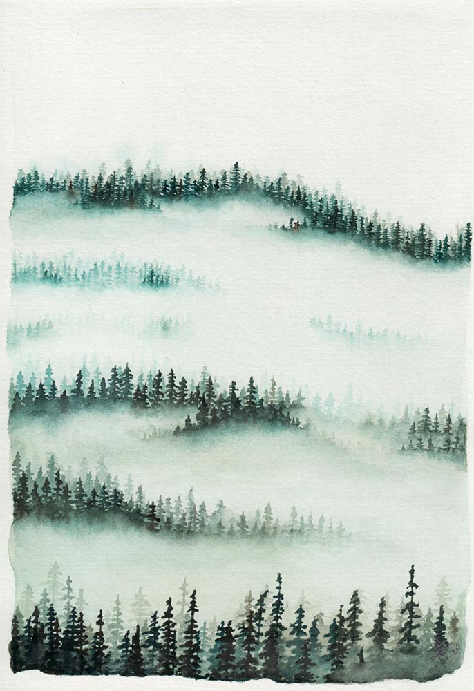 Foggy forest watercolor painting