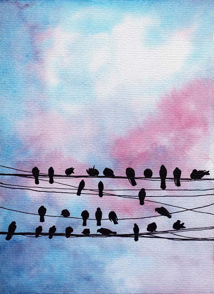 Einfaches Aquarellbild: Himmel mit Vögeln