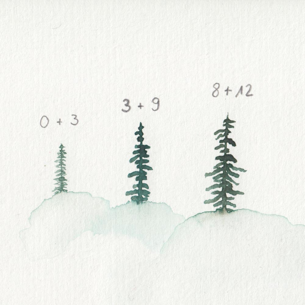 Painting trees with different brushes