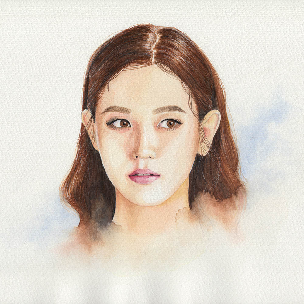 Painting a portrait with watercolors