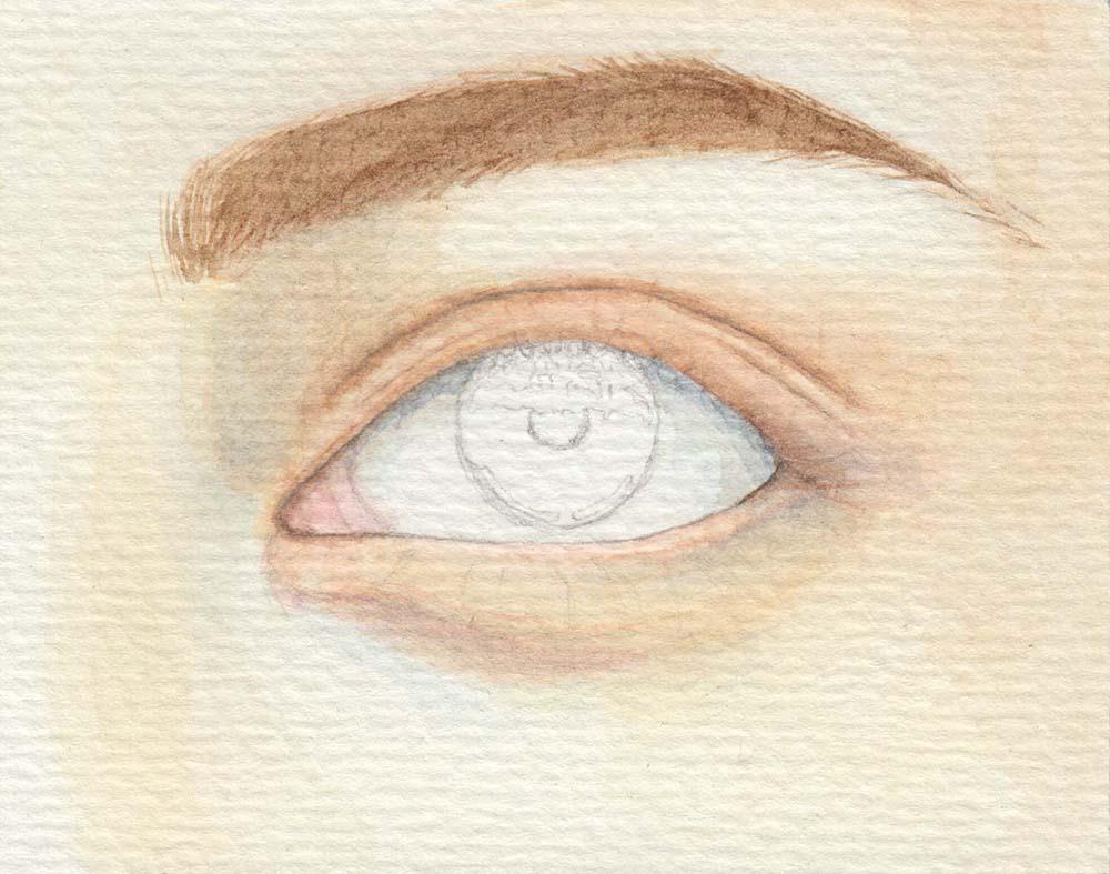 Augen malen: Augenwinkel & Augapfel