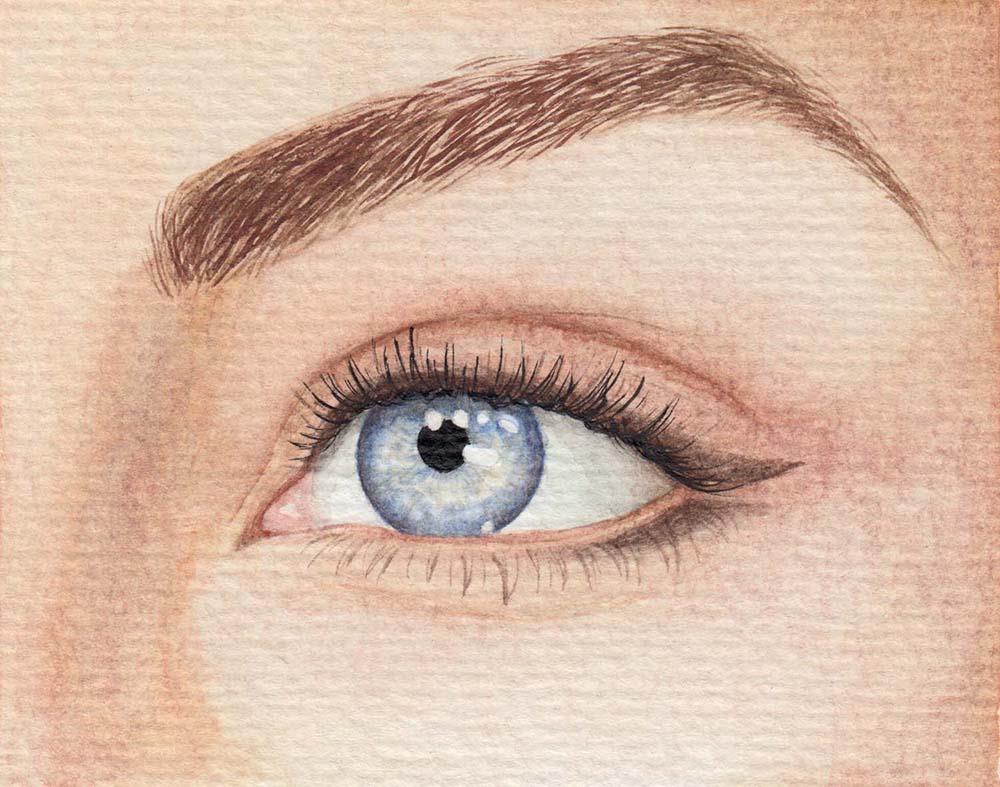Augen malen Hellblau