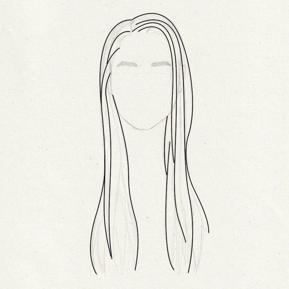 Guidelines for drawing long, straight hair