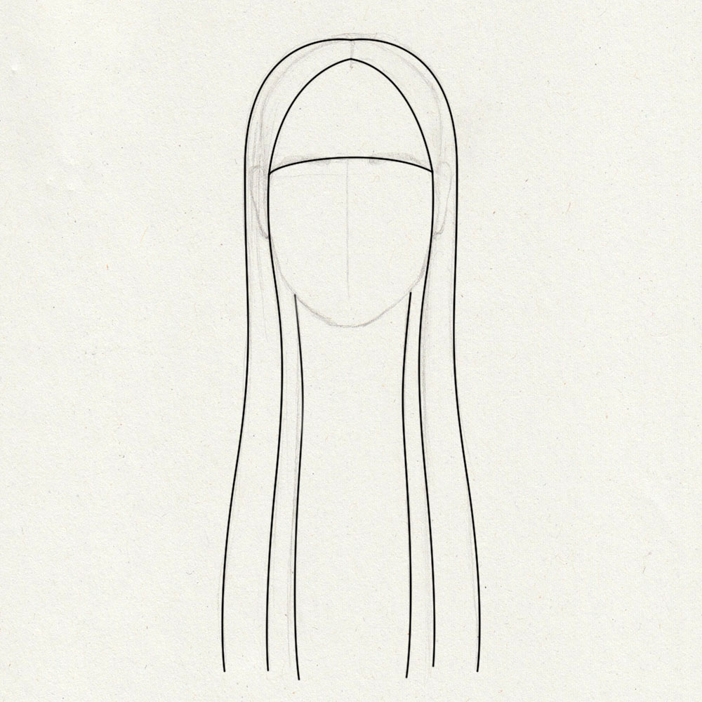 Guidelines for drawing long, straight hair with bangs
