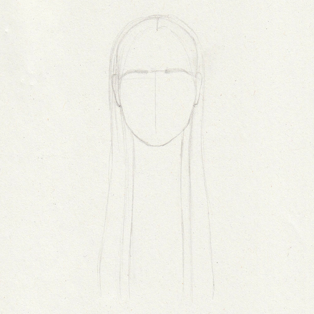 Sketch of long, straight hair with bangs