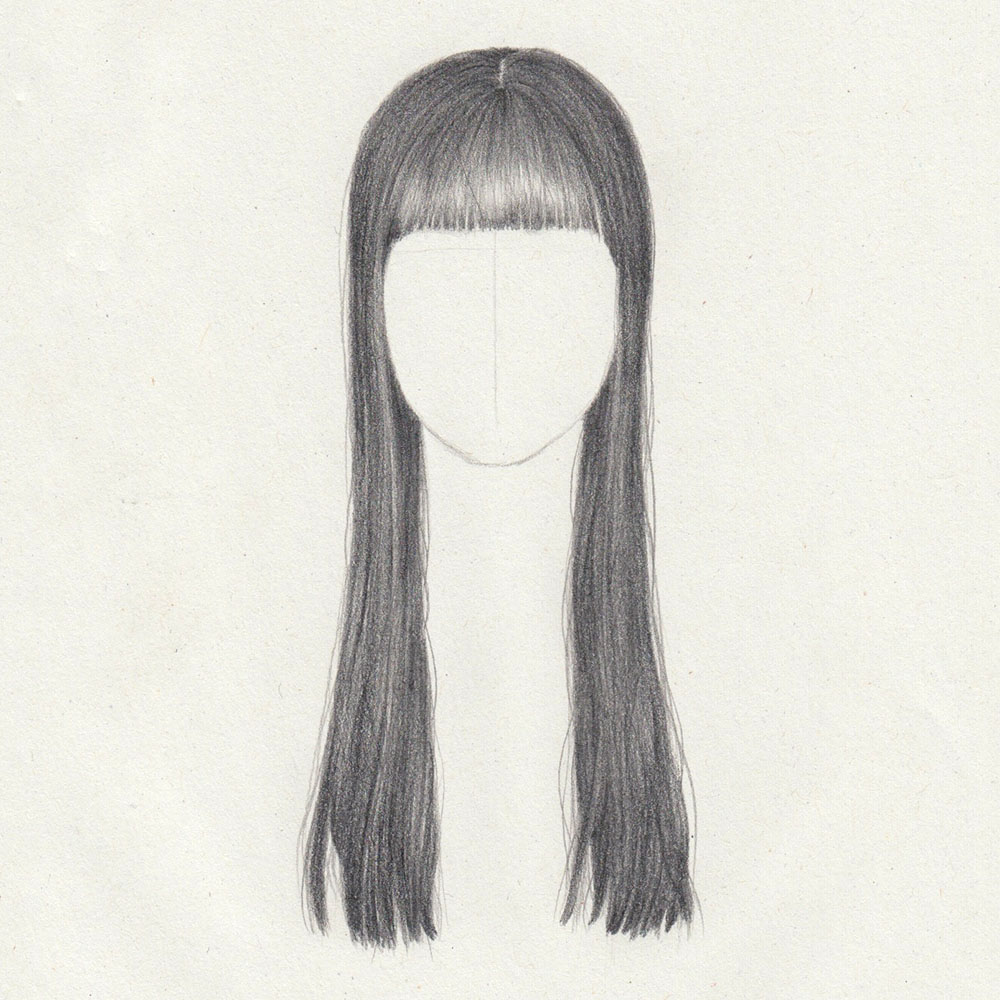 Drawing: Long, straight hair with fringe