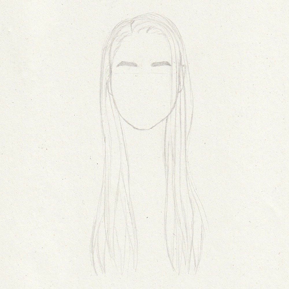 Sketch of long, straight hair