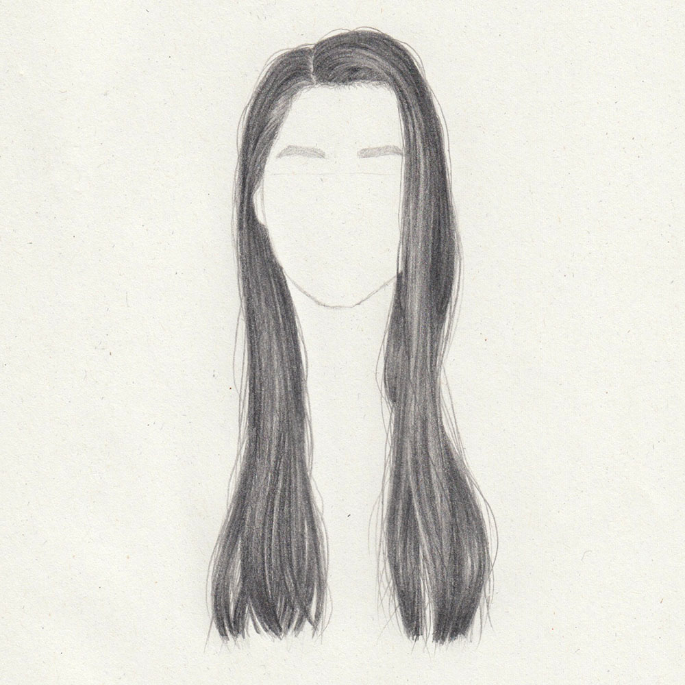 Drawing: Long, straight hair