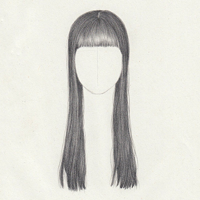 Draw long straight hair with bangs