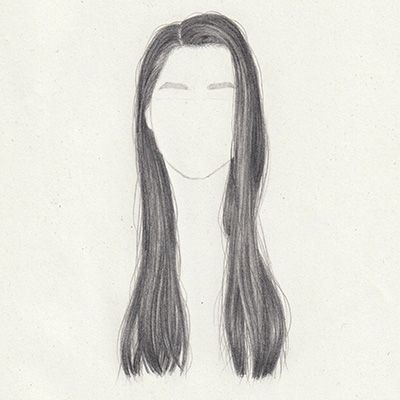 Draw long straight hair