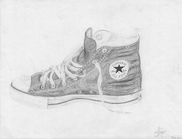 Pencil drawing - Shoe Converse